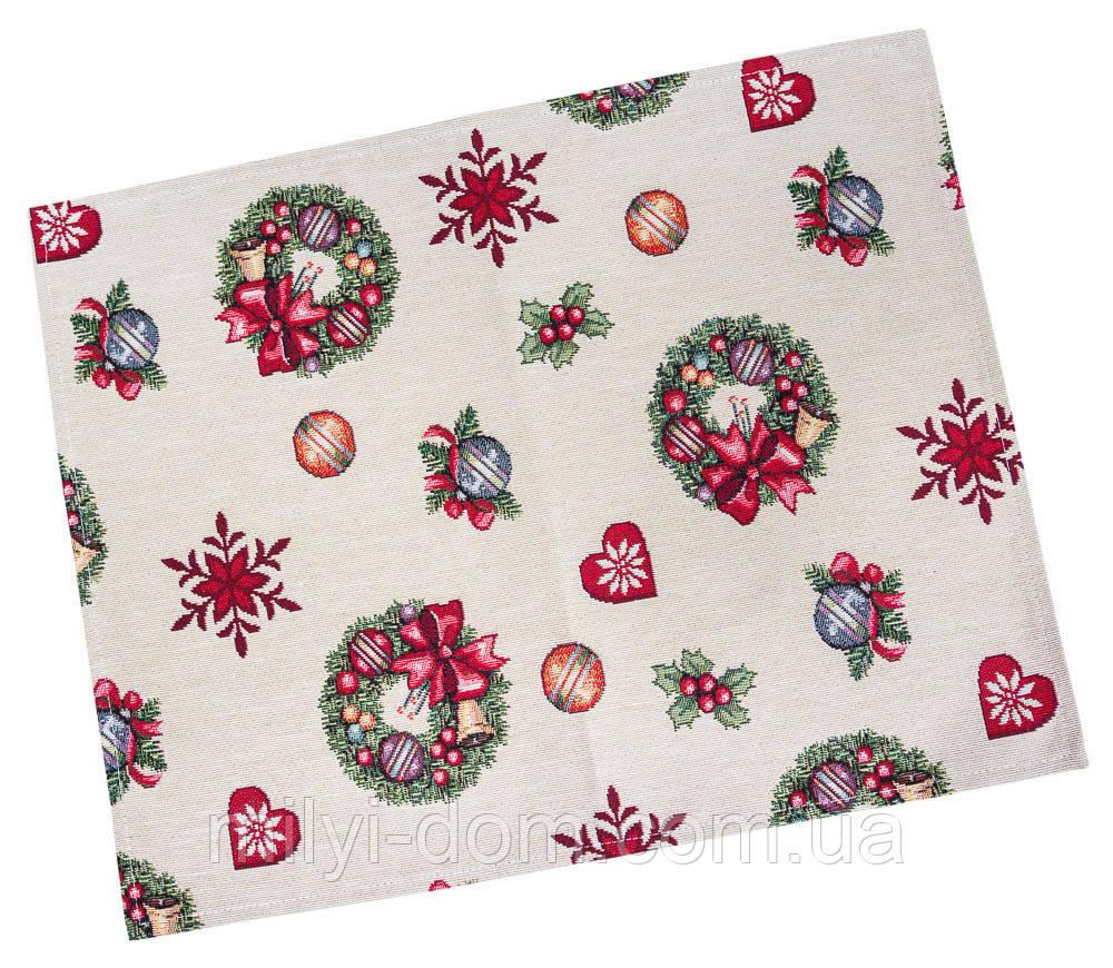 """Салфетка под тарелку  """"Рождественские венки"""", 34х44 см, гобелен"""