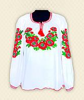 TM Dresko Вышиванка женская с длинным рукавом белая фуликра (94124)