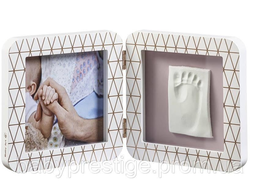 Рамка для отпечатков ручек и ножек Baby art двойная, медно-белая