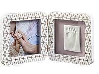 Рамка для отпечатков ручек и ножек Baby art двойная, медно-белая, фото 1