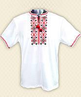 TM Dresko Вышиванка мужская короткий рукав белая вискоза (94051)