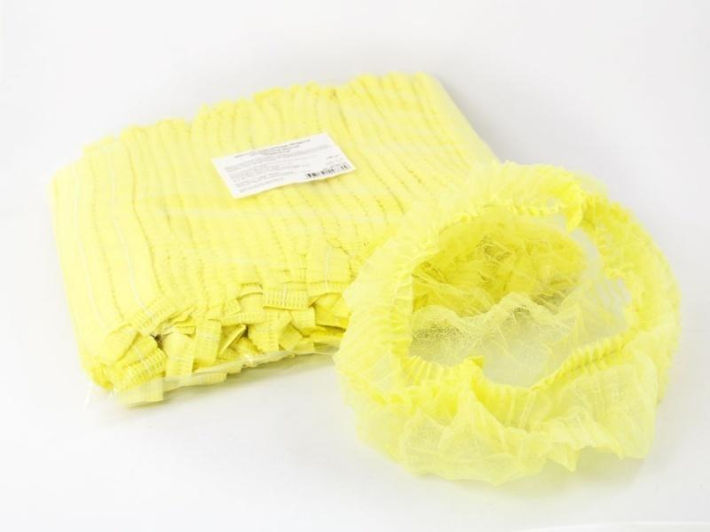 Шапочки одноразовые (гармошка), жёлтые, 10 шт, фото 1