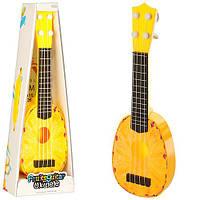 Гитара 77-06B2  36см, струны 4шт, ананас, в кор-ке, 15-40,5-5см