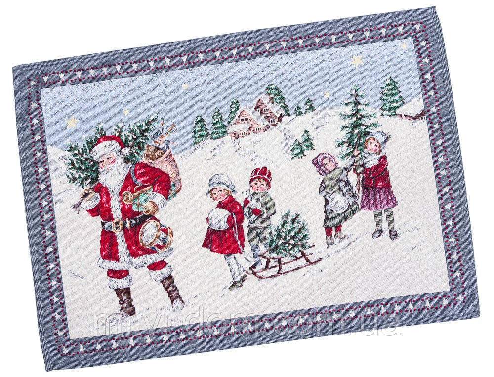 "Салфетка под тарелку  ""Зимние каникулы"", серебристый люрекс, 37х49 см, гобелен"