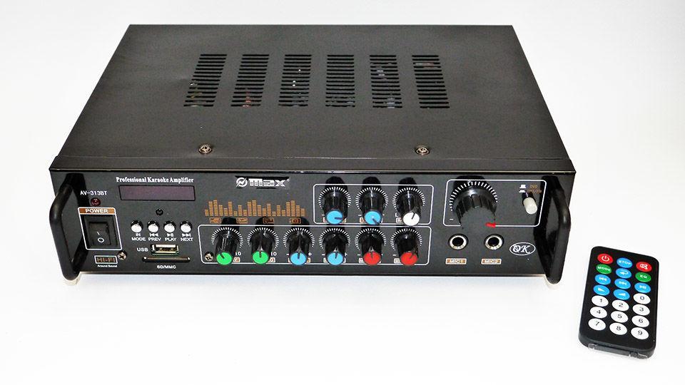 Усилитель звука MAX AV-313BT + Караоке на 2 микрофона
