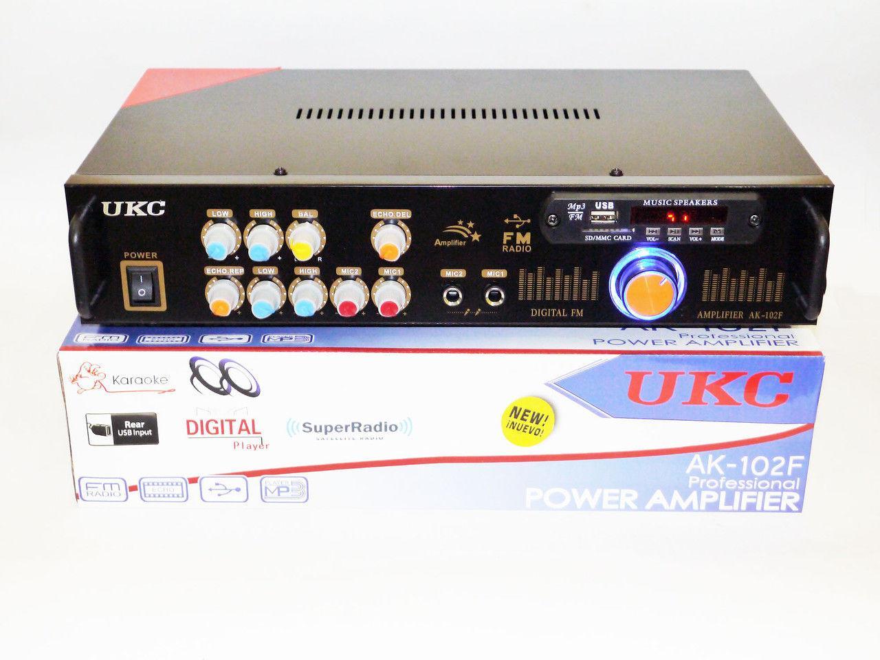 Усилитель звука UKC AK-102F + USB + Караоке на 2 микрофона