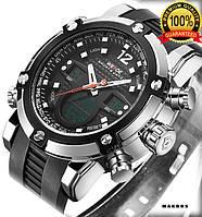 Часы наручные Weide WH5205 мужские, каучуковый ремешок, черный циферблат