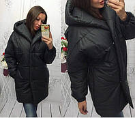Осенне-зимняя тёплая длинная куртка пальто Зефирка с капюшоном чёрная S-M  L-XL f74bb11809b4b