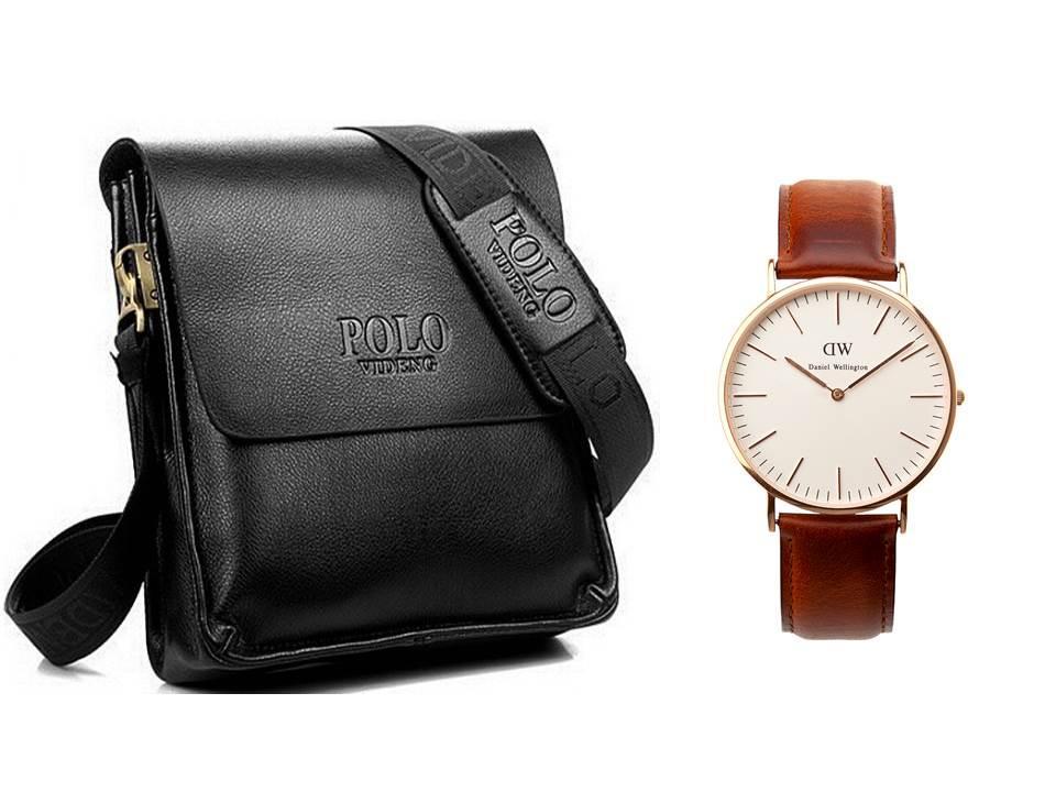 Мужская сумка через плечо Polo Videng Барсетка Сумка-планшет Часы в Подарок