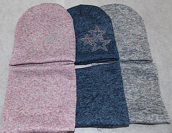 Комплект зимний шапка и снуд на девочку 52-54 размер