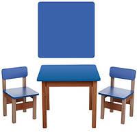 Столик F095  деревянный, 60-60см, 2 стульчика, в кор-ке, синий