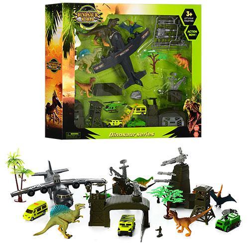 Набор игровой SY9806  военн.база,динозавры5шт,машинки3шт,самолет,вертолет,в кор-ке,56-46-9,5см