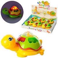 Заводная игрушка 0615  13,5см, черепаха, муз, 3Dсвет, на бат-ке, 6шт в дисплее, 35-27-8см
