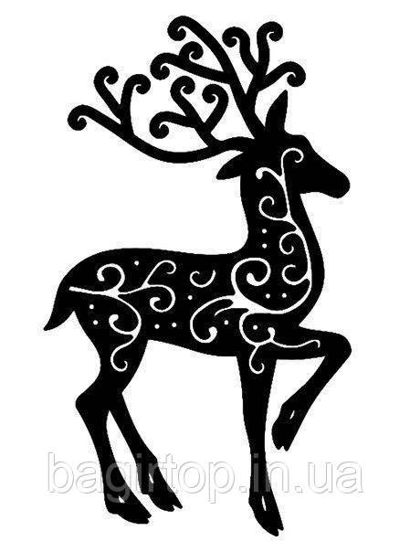 Новорічна вінілова наклейка - Візерунок олень