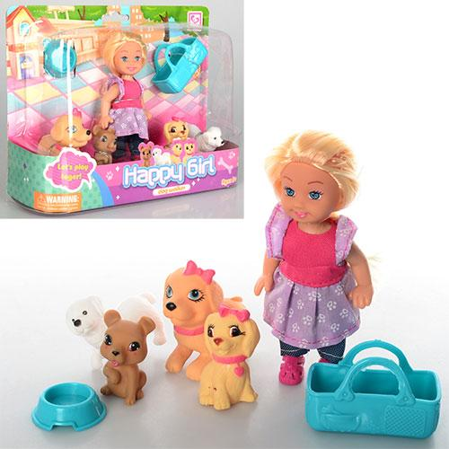 Кукла K899-32  11,5см, люлька, собачки 4шт, миска, в слюде, 22-16-6см