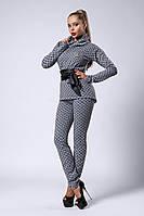 Стильный женский костюм из лосин и кофты Луи Витон, серый