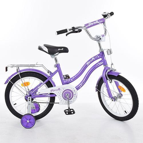 Велосипед детский PROF1 18д. L1893  Star, фиолетовый,зеркало,звонок,доп.колеса