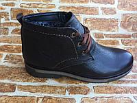 Мужские кожаные зимние ботинки глянцевые