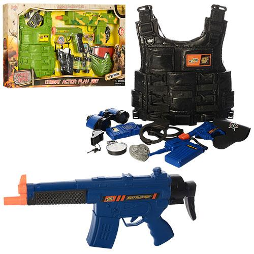 Набор военного 8635-36  бронежилет,автомат,пистолет,бинокль,2вида,в кор-ке,70,5-38-5см