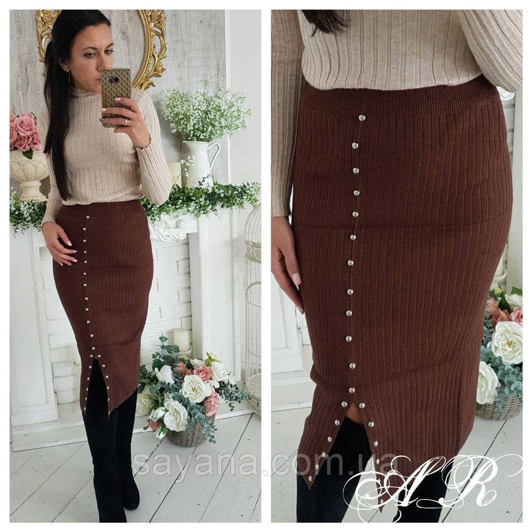 Женская трикотажная юбка-резинка с разрезом, в расцветках. АР-1-1017