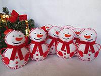 """Новогодние игрушки из фетра """"Снеговик"""", цвет белый, 1 шт"""