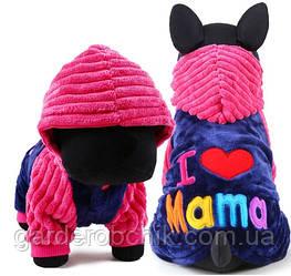 """Комбинезон, толстовка """"Я люблю маму"""" для собак.  Одежда для собак"""