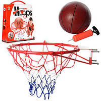 Баскетбольное кольцо M 2654  45см,сетка,мяч резиновый 20см,насос,в кор-ке,45,5-53-11см