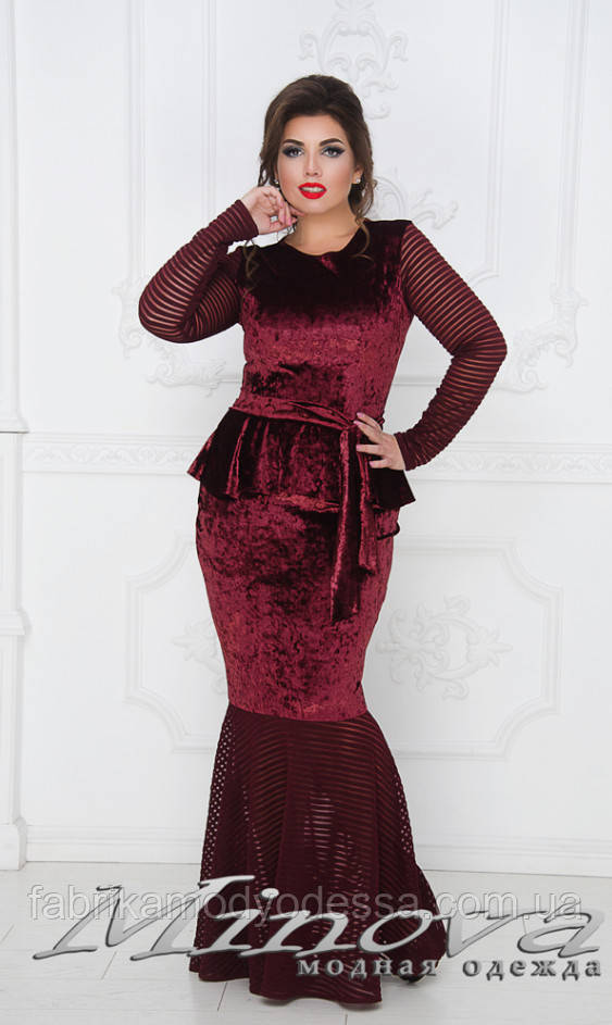 efb41f4339d Нарядное вечернее платье бархат большого размера от ТМ Minova новая  коллекция ( р. 50-