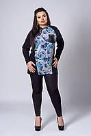 Оригинальная женская кофточка с синими розами, фото 1