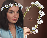 """""""Белые соцветия с голубой росписью"""" Свадебный веночек с цветами. Свадебные украшения для невесты, фото 1"""