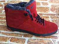 Зимние мужские кроссовки из натуральной замши красные 34