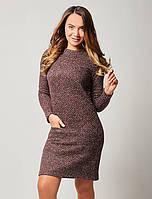 Женское теплое платье бордового цвета с длинным рукавом. Модель 1498