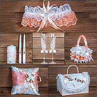 Свадебный набор аксессуаров персикового цвета (арт. SN-011)