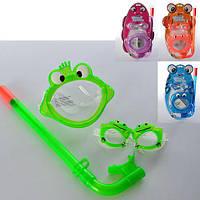 BW Набор для плавания 24019   детский,маска + трубка + очки,3-6лет,4вида,в слюде,24-42-7см