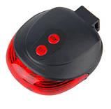 Мигалка задня ліхтар светодиодно-лазерна з 4-ма лазерними смужками для велосипеда горизонтальна SKU0000881, фото 4