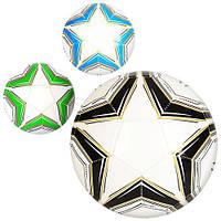 Мяч футбольный EN 3231  размер 5, ПВХ 1,6мм, 300-320г, 3 цвета, в кульке