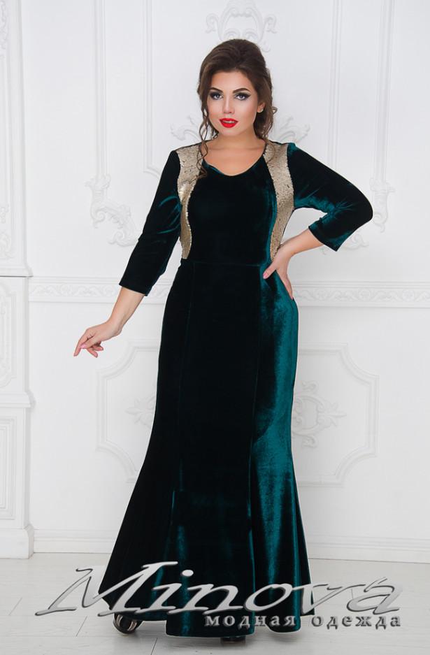 Нарядное вечернее платье велюр большого размера от ТМ Minova новая коллекция ( р. 54-64 )