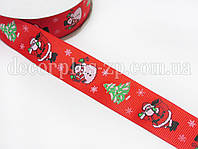 Лента репсовая 2,5см красная Дед Мороз