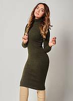 Теплое платье зеленого цвета с воротником стойка. Модель 1496