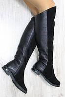 Зимние натуральные кожаные сапоги ботфорты