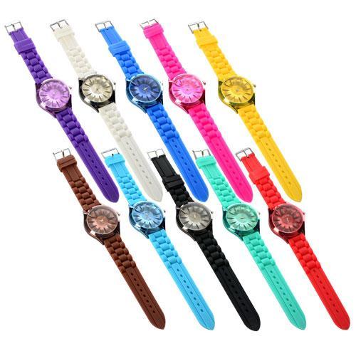 Часы CT-6  механические, наручные, 25см, силиконовый ремешок,10цветов, в кульке, 25-4,5-1см