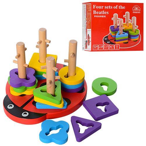 Деревянная игрушка Геометрика MD 1027  фигуры 16шт, в кор-ке,18,5-16,5-12см