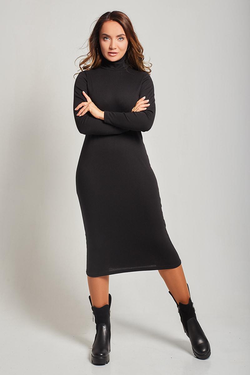 f9a7eb23a58 Женское повседневное трикотажное платье черного цвета с воротником-стойка.  Модель 1497.