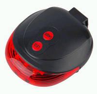Мигалка задняя фонарь светодиодно-лазерная с лазерными точками везде внизу велосипеда горизонтальнаяSKU0000882