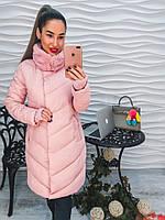 Красивое женске пальто из плащевки довязанный рукав с мехом только розовое тренд 2017 года