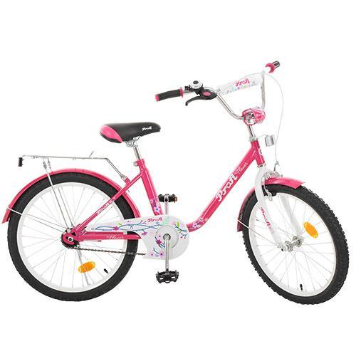 Велосипед детский PROF1 20д. L2082  Flower, малиновый,звонок,подножка