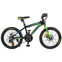 "Велосипед 20 д. G20HARDY A20.2 алюм.рама 12"",Shimano 18SP,алюм.DB,двойной обод,черно-салат."