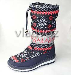 Подростковые дутики на зиму для девочки сапоги черные узоры 36р.