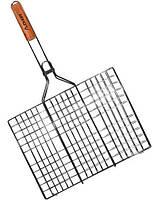 Решетка для гриля хромированная 45*26*2см с деревянной ручкой 0717