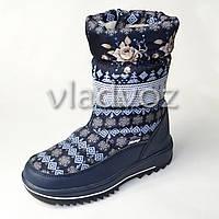 Модные дутики на зиму для девочки сапоги синие узоры 36р.